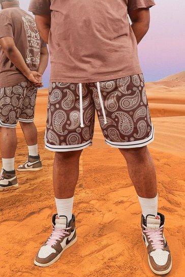 Chocolate brown Plus Size Mesh Bandana Basketball Shorts