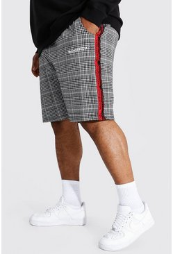 Red Plus Size Man Official Tape Jacquard Shorts