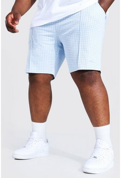 Pale blue blue Plus Size Man Sig Jacquard Pintuck Shorts