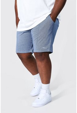 Blue Plus Size Slim Man Herringbone Jacquard Short