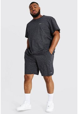 Navy Plus Man Jacquard Stripe T-shirt & Short Set