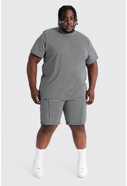 Black Plus Size Jacquard Dogtooth Tee & Short Set