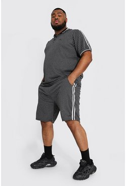 Black Plus Man Jacquard Check Tape Polo & Short Set