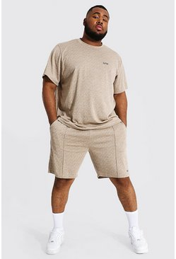 Stone beige Plus Size Man Jacquard T-shirt & Short Set