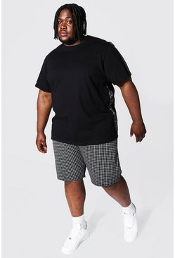 Black Plus Jacquard Panel T-shirt & Short Set