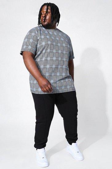 Blue Plus Jacquard T-shirt & Pintuck Jogger Set