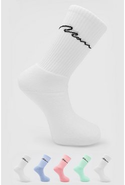 Multi 5 Pack Man Signature Tube Sock