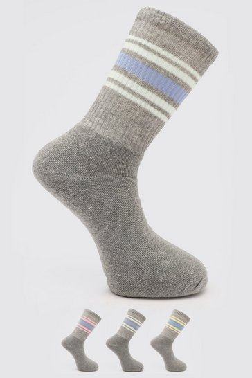 Multi 3 Pack Sports Stripe Tube Sock