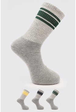 3 Pack Sports Stripe Tube Sock, Multi