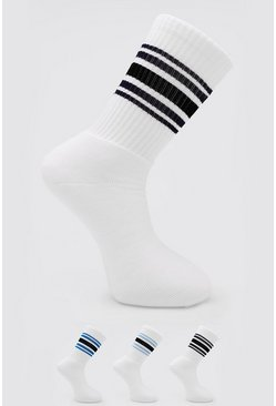 3 Pack Sports Stripe Tube Sock, Multi mehrfarbig