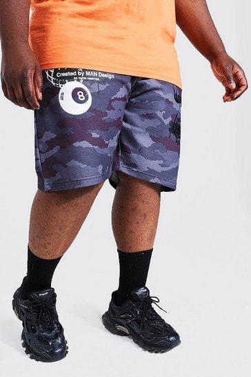 Black Plus Size Tie Dye Graffiti Jersey Shorts