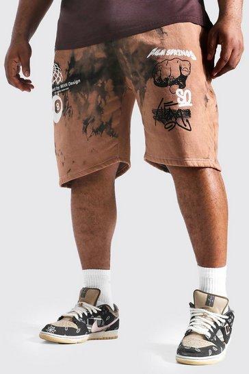 Brown Plus Size Tie Dye Graffiti Jersey Shorts