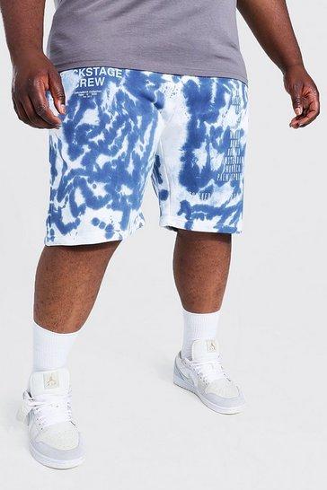 Multi Plus Size Tie Dye Print Detail Jersey Shorts