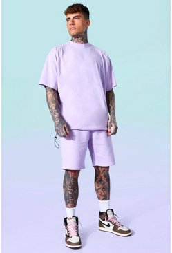 Lilac purple Oversized T-shirt And Short Set
