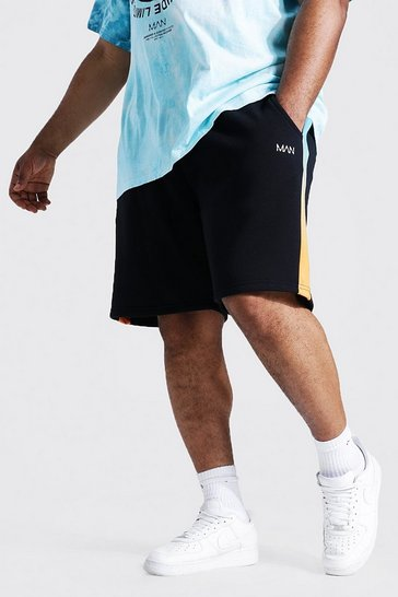 Black Plus Size Man Ombre Panelling Jersey Shorts