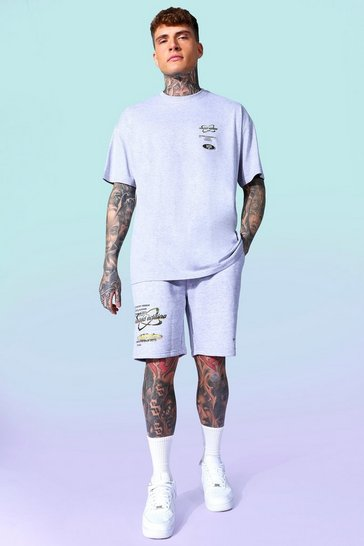 Grey marl grey Graphic T-shirt And Short Set