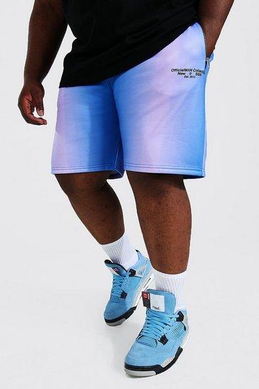 Multi Plus Size Tie Dye Graffiti Jersey Shorts