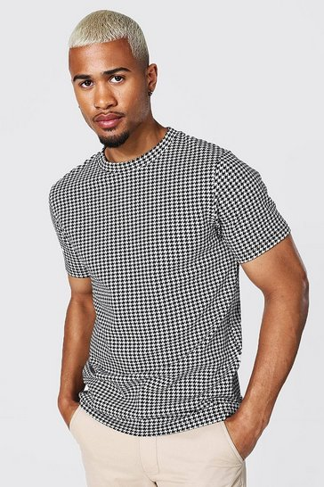 Black Slim Fit Jacquard Houndstooth T-shirt