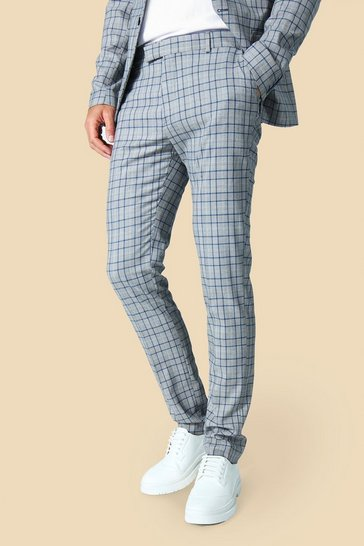 Grey Tall Skinny Check Trouser