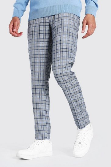 Grey Tall Skinny Smart Check Trouser