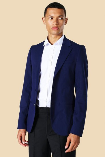 Navy Tall Skinny Single Breasted Suit Jacket