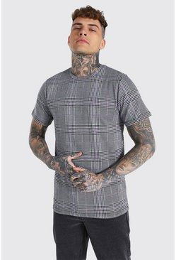 Lilac purple Slim Fit Jacquard Check T-shirt