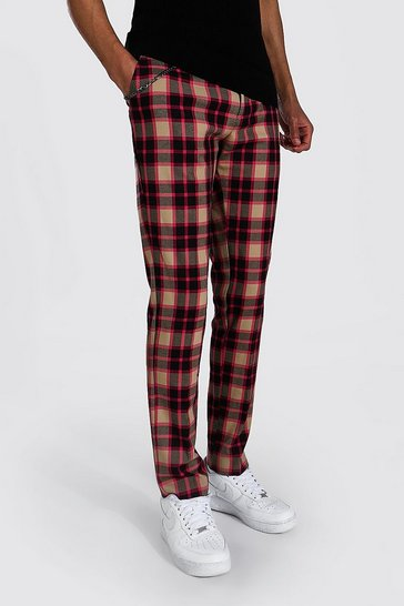 Multi Tall Skinny Crop Check Trouser With Chain