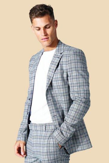 Grey Tall Skinny Check Single Breasted Jacket