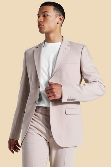 Ecru white Tall Skinny Single Breasted Suit Jacket
