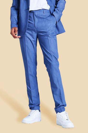 Blue Tall Skinny Suit Trousers