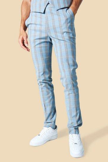 Blue Tall Skinny Check Trouser