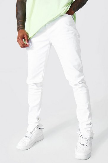 White Skinny Stretch Stacked Leg Jean With Zips