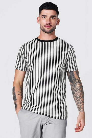 White Stripe Jacquard Ringer T-shirt