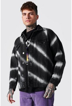 Denim Jacket With Diagonal Bleaching, Black negro