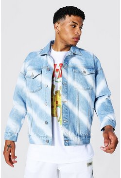 Denim Jacket With Diagonal Bleaching, Ice blue