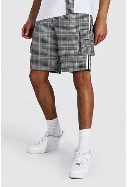 Black Tall Man Jacquard Cargo Jersey Short