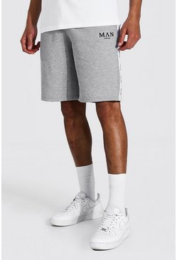 Grey marl grey Tall Man Roman Jersey Short With Tape