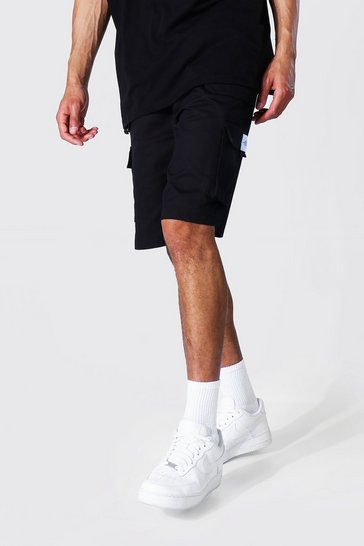 Black Tall Twill Cargo Shorts With Man Badge