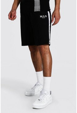 Black Tall Man Roman Jersey Short With Tape