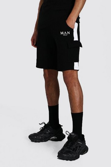 Black Tall Man Roman Cargo Short