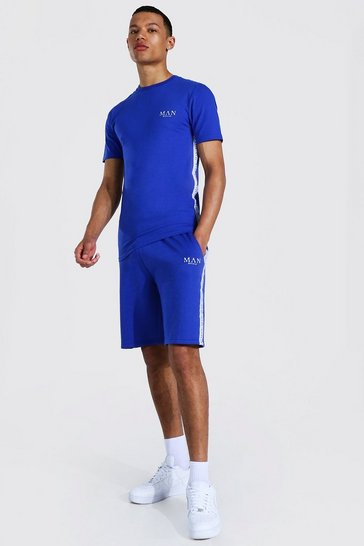 Cobalt blue Tall Muscle Fit Man Tshirt And Short Set