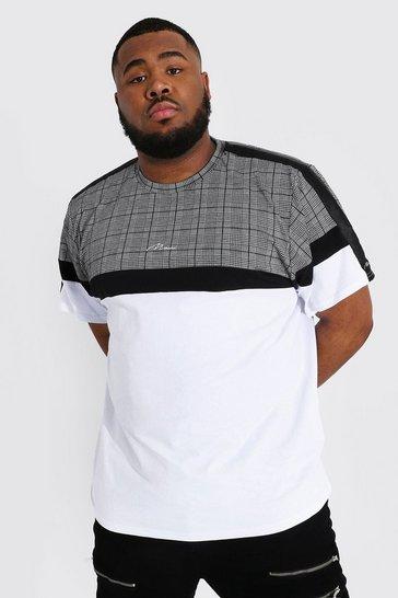 White Plus Size Man Script Jacquard Tape T-shirt