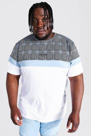 White Plus Size Man Colour Block Jacquard T-shirt