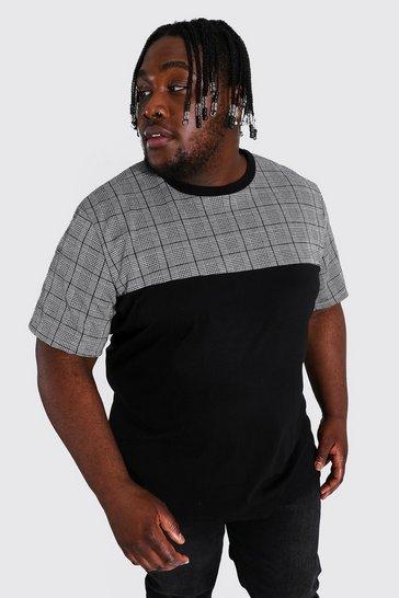 Black Plus Size Man Colour Block Jacquard T-shirt