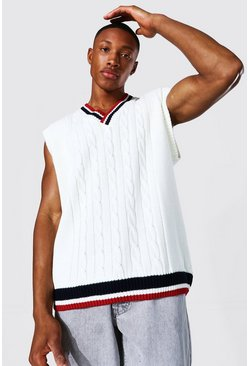Ecru white Varsity Basic Knitted Vest