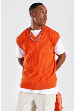 Orange Knitted V Neck Oversized Tank Top