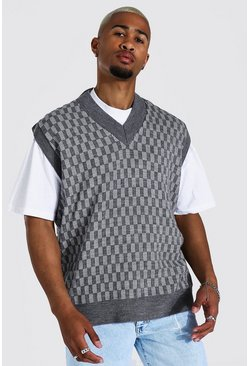Charcoal grey Knitted V Neck Oversized Checkerboard Vest