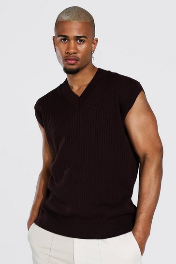 Chocolate brown Knitted V Neck Oversized Vest
