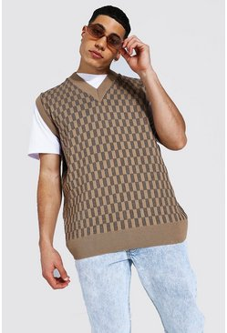 Stone beige Knitted V Neck Oversized Checkerboard Vest