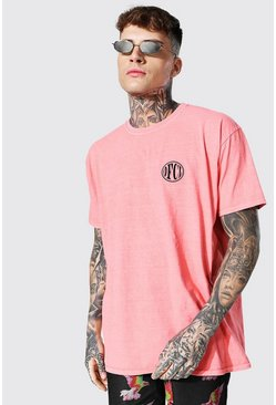 Orange Oversized Ofcl Overdye Crew Neck T-shirt